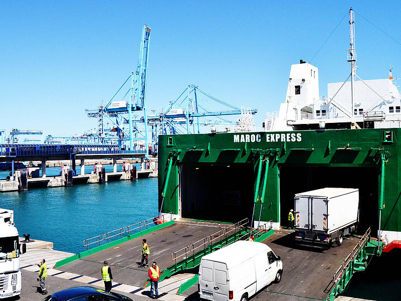 Loading of the vessel Kattegat via its stern ramps
